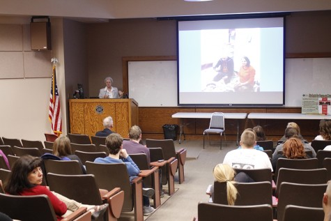 Sister Marceline Koch, a nun from the Dominican Sisters of Springfield, discusses her experiences helping refugees and displaced people due to ISIS Wednesday in the auditorium of Lumpkin Hall.