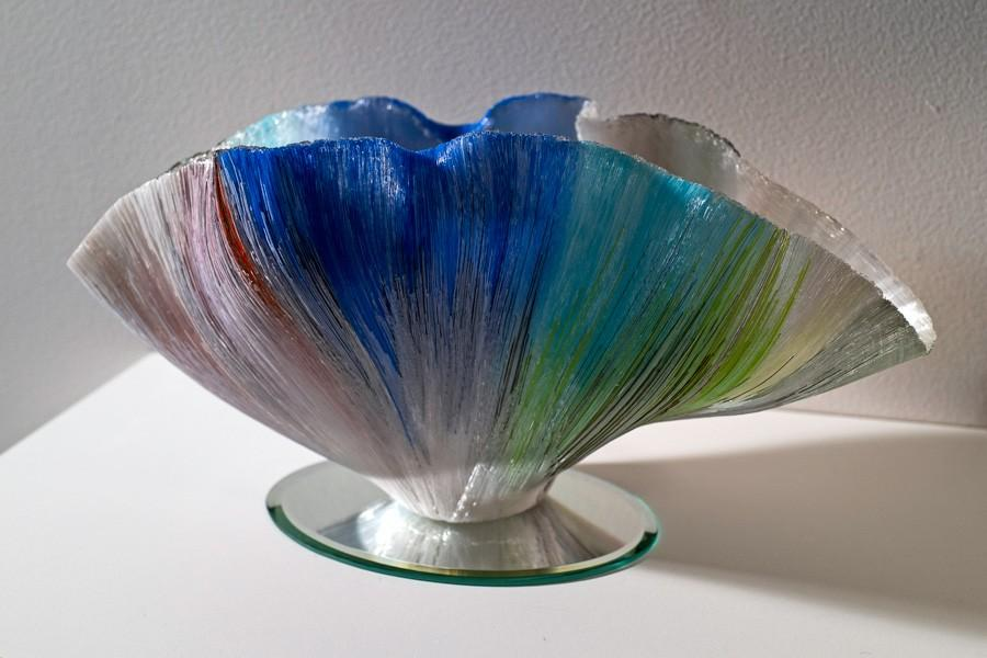 Glass artwork on display at Tarble