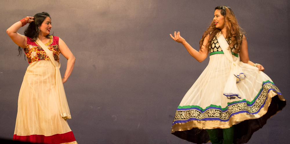 A Nepalese duo perform a dance Saturday during the AIS Global Cultural Night event in the Grand Ballroom of the Martin Luther King Jr. Union.