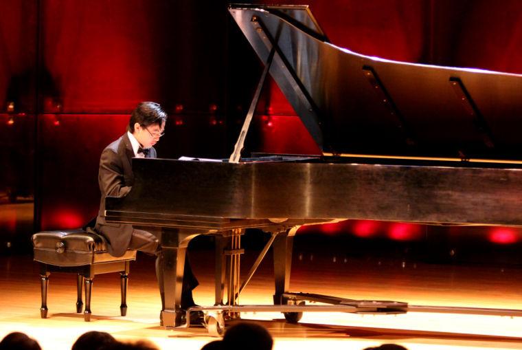 Photo: Yang displays piano talents at Doudna