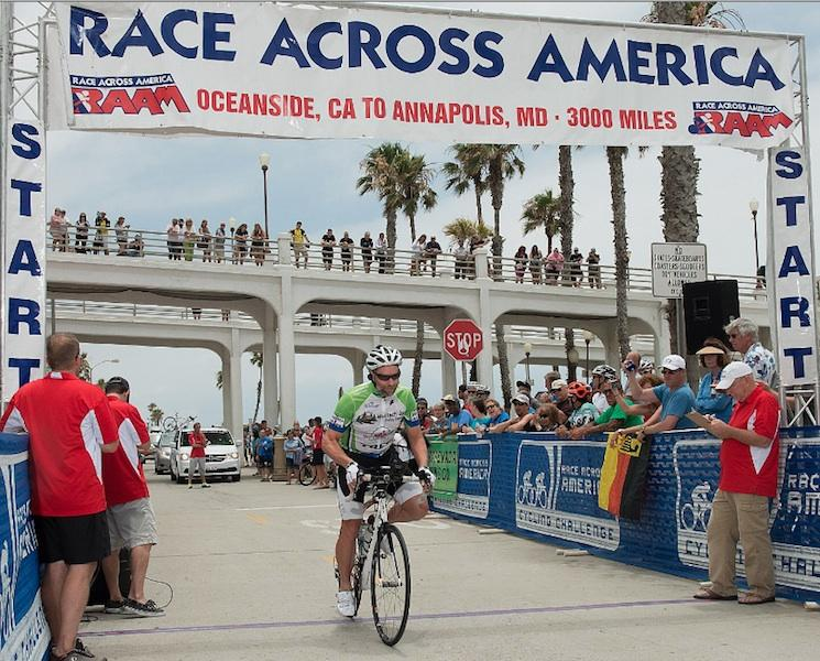 Keith Wolcott began his race across America June 10 in Oceanside, Calif., and expects to cross the finish line June 22 in Annapolis, Md.