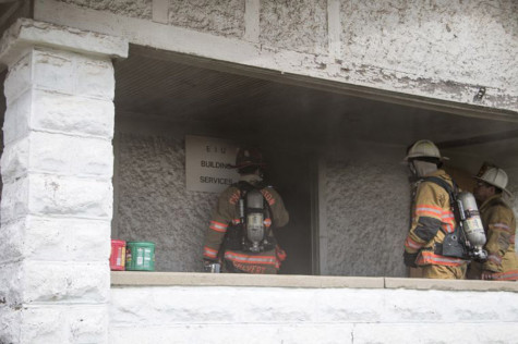 Fire department trains, put out fire in Eastern building