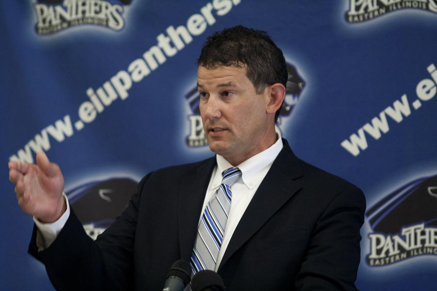 Tom+Michael+was+introduced+as+the+new+athletic+director+Tuesday+in+Lantz+Arena.