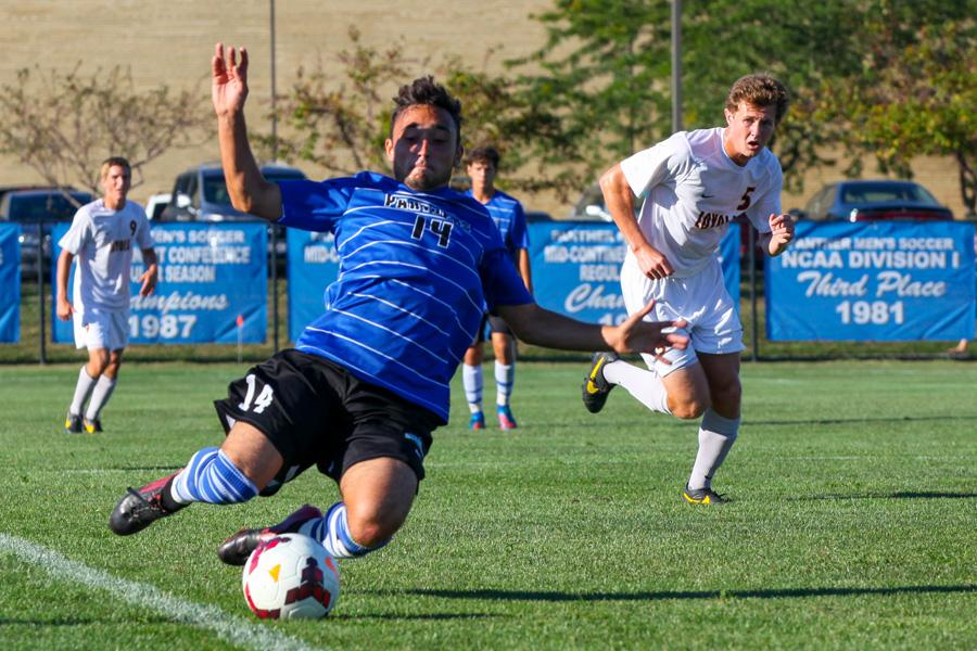 Senior midfielder Will Butler chases down a ball in a game at Lakeside Field last season. The Eastern men's soccer team opens it's regular season schedule against Saint Francis (Ill.) Lipscomb Friday and Sunday at Lakeside Field.