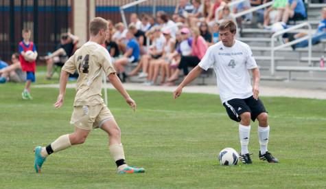 Freshman midfielder Dominic Recca squares off against freshman defender Mark Haraus in a game on Saturday at Lakeside Field.  The Panthers beat University of St. Francis 2-0.