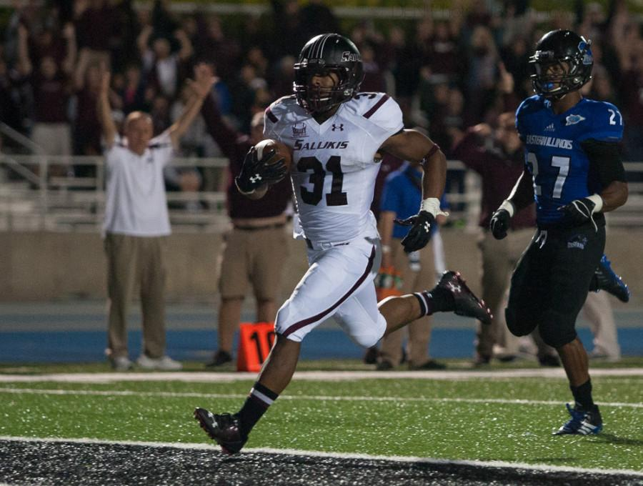 Senior running back Malcolm Agnew runs in untouched for Southern Illinois-Carbondale, giving the Salukis a 28-21 lead in the third quarter over Eastern at OBrien Field Saturday night. Agnew rushed for three touchdowns, as the Panthers lost 38-21 in their home opener.