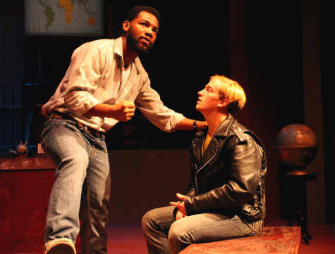 Blake Morris and Jacob Cole rehearse Tuesday at the Doudna Fine Arts Building, in The Theater, for the play