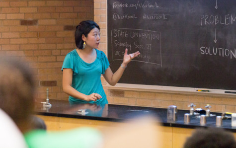 Grace Pai, the outreach fellow for NextGen Illinois, discusses issues and solutions that young people in Illinois face on Tuesday in the Phipps Lecture Hall.