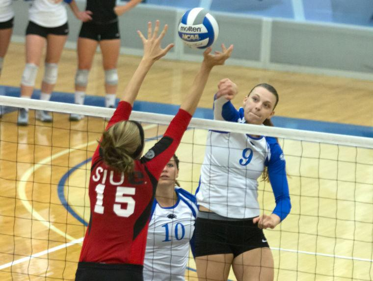 File+Photo+by+Jason+Howell+%7C+The+Daily+Eastern+News%0ARedshirt+senior+middle+hitter+Stephanie+Arnold+hits+the+ball+in+the+direction+of+middle+blocker+Kristen+Torre+in+a+game+on+Oct.+1+in+Lantz+Arena.++The+Panthers+beat+the+Southern+Illinois-Edwardsville+Cougars+3-1.