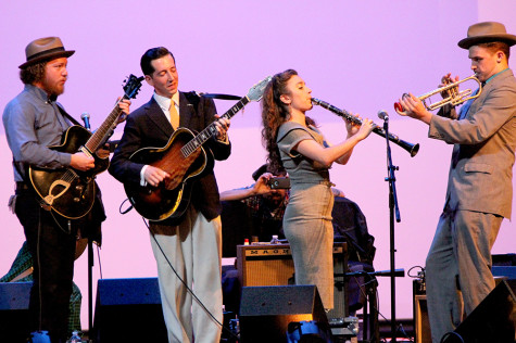Pokey Lafarge performs with members of his band Monday during the Pokey Lafarge Central Time Tour in the Dvorak Concert Hall in the Doudna Fine Arts Center.