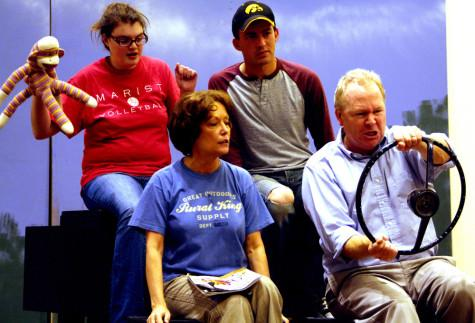 Kevin Hall| The Daily Eastern News Cast members of Leaving Iowa rehearse Wednesday in the Tarble Arts Center.