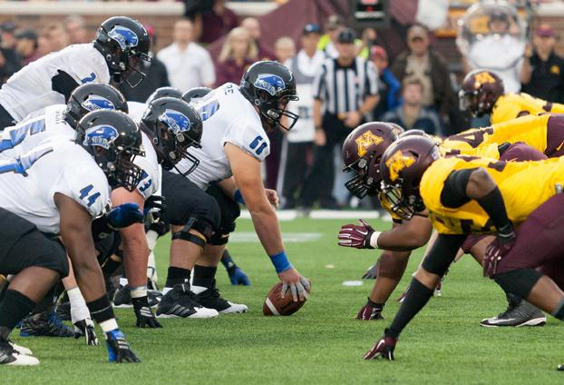 The Eastern football offensive lines up against University of Minnesota on Aug. 28 at TCF Bank Stadium in Minneapolis, Minn. with Jalen Whitlow at quarterback.