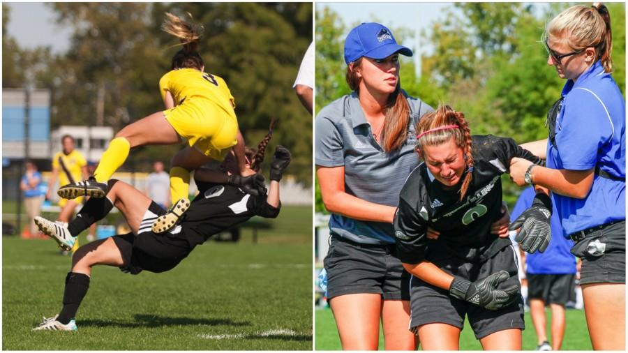 Kylie Morgan, a red-shirt sophomore goalkeeper, collides with a Valparaiso opponent during a game on Friday at Lakeside Field.  She does not return to the game.  The Panthers lost the game 1 to 3. Morgan did not return to the game and was seen having ice applied to her shoulder on the sidelines.