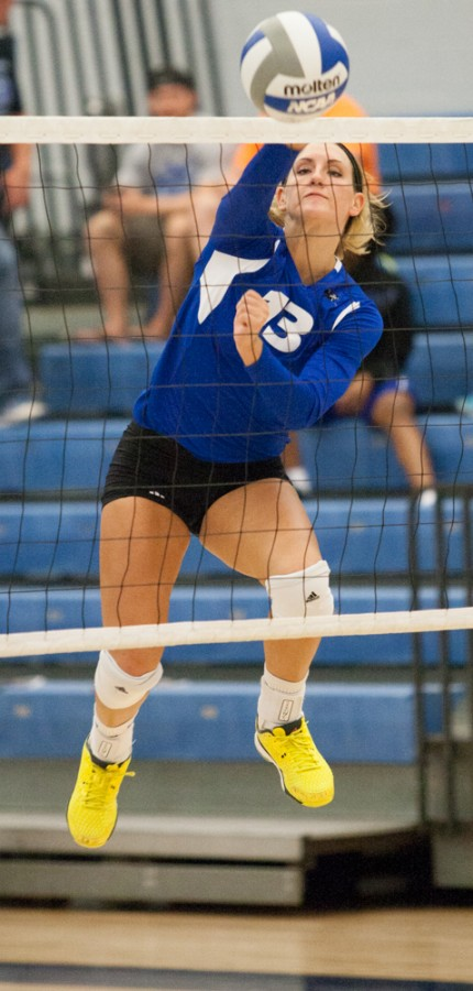 Freshman+outside+hitter+Maria+Brown++sends+the+ball+over+the+net+in+a+game+against+Southern+Illinois-Edwardsville+on+Wednesday+in+Lantz+Arena.++The+Panthers+beat+the+Cougars+3-1+to+improve+to+1-2+in+the+OVC+and+7-9+overall.++Brown+had+8+kills+and+helped+the+Panthers+score+8.5+points+against+the+Cougars.