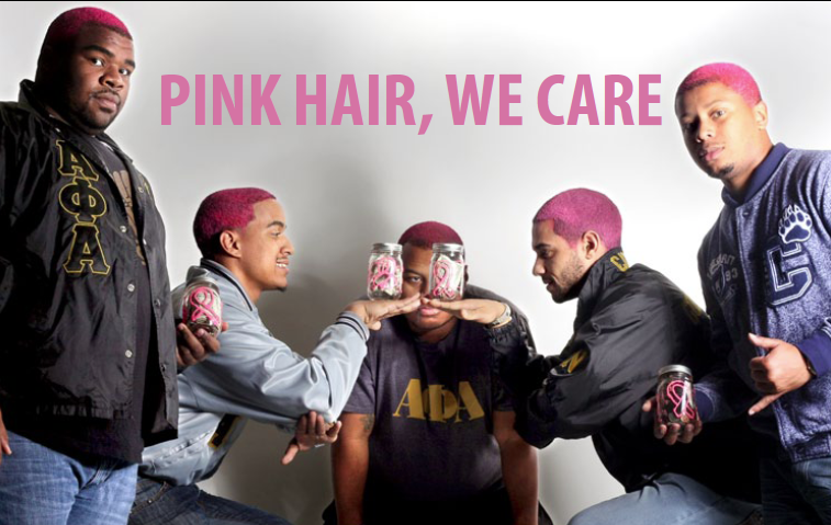 Fraternity+members+dye+hair+pink+for+cancer+awareness+