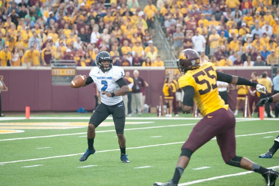 Eastern quarterback Jalen Whitlow looks for a reciever in the Panthers' season opener against Minnesota on Aug. 28 in Minneapolis, Minn. The Panthers lost 42-20 to the Golden Gophers. The Panthers are 1-4 so far this season.