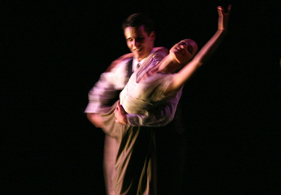 Brandon+Harneck+and+Tenley+Dorril+dance+to+the+scene+True+Love+during+the+Thodos+Dance+Chicago+performance+Saturday+in+the+black+box+of+the+Doudna+Fine+Arts+Center.+The+dance+told+the+story+of+two+young+young+lovers+and+the+maturing+of+a+relationship+over+time.