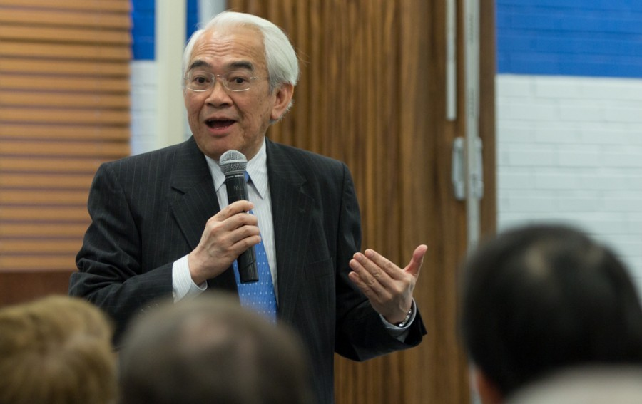 Wing-yin Yu, a former gubernatorial candidate and physics professor, speaks to a group of faculty, staff and students Thursday in the Charleston/Mattoon Room in the Martin Luther King Jr. University Union.