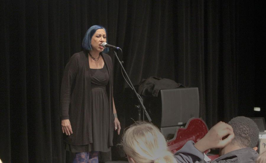 Author Alice Bag performs Angelitos Negros, a song that she used to put her childhood in perspective after reading an excerpt from her book Violence Girl: East L.A. Rage to Hollywood Stage, a Chicana Punk Story.
