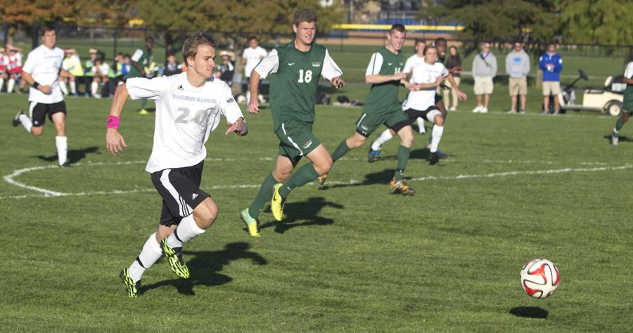 Sophmore midfielder, Nick Wegrzynowicz runs for the ball during the game against the University of Wisconsin GreenBay Tuesday at Lakeside Field.