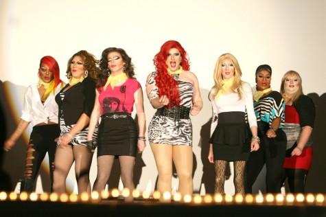 Aurora Lamont- Carrington performs a numer from 'Pitch Perfect' with the rest of her group during the Over the Rainbow Diva drag show in the University Ballroom on November 18.