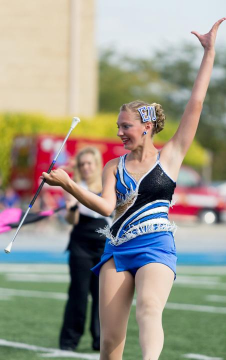Nicci Colucy performs with the Panther Marching Band during the Panthers home game against Eastern Kentucky on Sept. 28 2013 at OBrien Field.