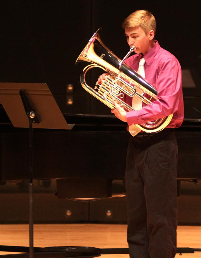 Kevin Forbes, a music major, performs his piece during OcTUBAfest in the Recital Hall of the Doudna Fine Arts Center on Thursday.