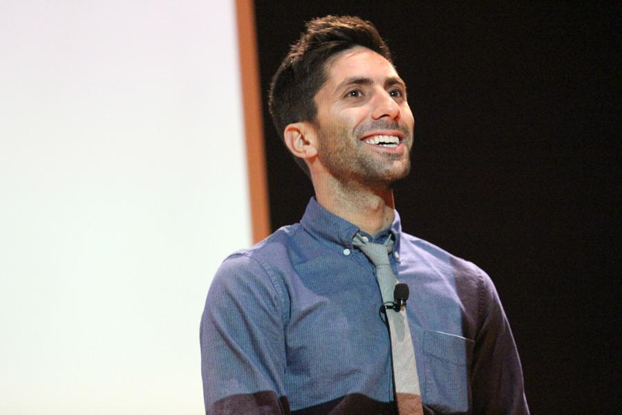 Nev Schulman, star of the television show 'Catfish', talks about his life, relationships, and offers advise to students during the Catfish On Campus event Tuesday in the Grand Ballroom of the Martin Luther King Jr, University Union.