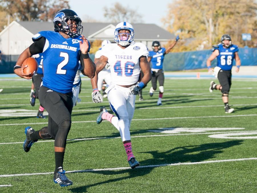 Junior quarterback Jalen Whitlow runs the ball down the field during the Panthers homecoming game against Tennessee State on Oct. 25 at OBrien Field.  The Panthers beat the Tigers 28-3.
