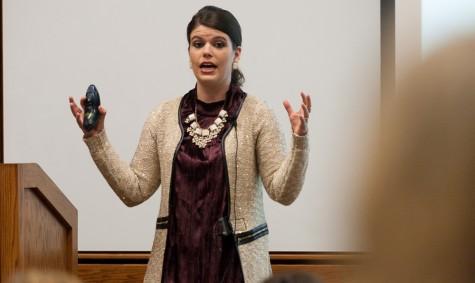 Senior marketing major Alexis Teichmiller gives her presentation,