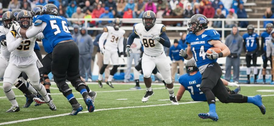 Red-shirt senior running back Taylor Duncan runs the ball during the Panthers 48-26 win over Murray State on Saturday at OBrien Field. Duncan scored two touchdowns and ran for 171 yards during the game.