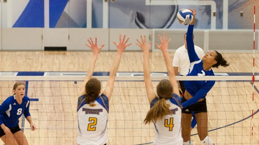 Junior+outside+hitter+Chelsea+Lee+leaps+to+hit+the+ball+during+the+Panthers%27+3-0+win+over+Morehead+State+Thursday+in+Lantz+Arena.++Lee+had+12+kills+and+scored+13+points+during+the+game.