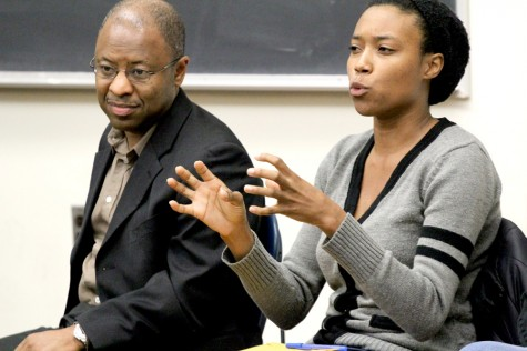 Jeniece Mitchell, a graduate student in the Department of Technology, participates in the panel during the NAACP Forum Monday in Coleman Auditorium.  Mitchell talked about the discomfort she feels when she goes to minority sanctioned events and police officers are scattered among the room.