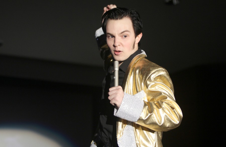 Aja Taylor| The Daily Eastern News   Tanner Skym, a freshman history major, impersonates Elvis at the Vegas event Wedneday  at Grand Ballroom in the Martin Luther King Jr., University Union.