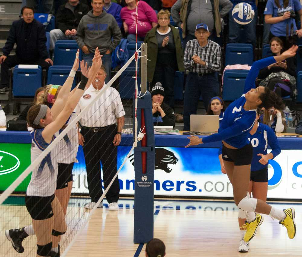 Junior outside hitter Chelsea Lee leaps to hit the ball during the Panthers' 3-0 win over Morehead State.  Lee had 12 kills and scored 13 points during the game.
