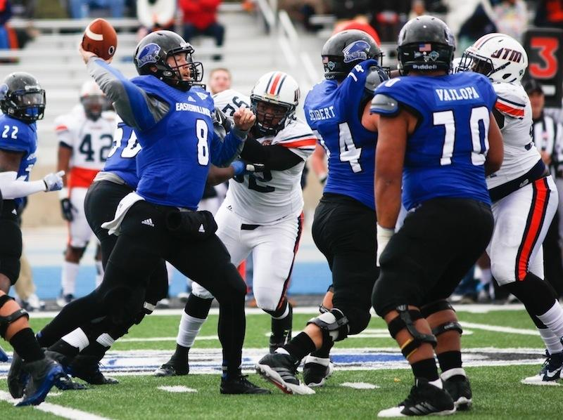 Andrew Manley, a red shirt-senior quarterback, passes the ball during the third quarter Saturday during the game against the University of Tennessee-Martin at OBrien Field. The Panthers ended the year with a 37-16 loss against the Skyhawks.