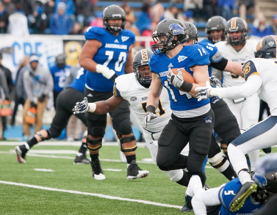 Taylor Duncan runs against the Murray State defense Saturday at OBrien Field. Duncan scored two touchdowns in the first half, leading to a 35-20 lead for the Panthers.
