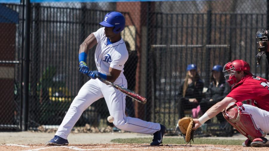 Eastern left fielder Demetre Taylor takes a swing against Jacksonville State at Coaches Stadium on March 30. Taylor led the Panthers with seven home runs and 53 RBIs in the 2014 season.