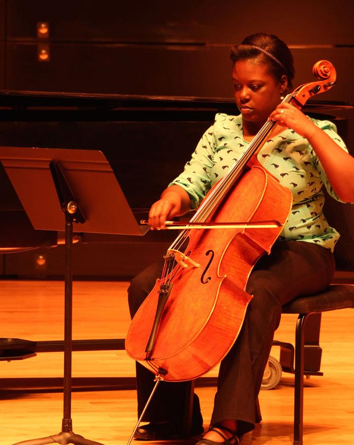 Taylor Smith, a junior music major, plays the cello in the Student Recital Series: Composers' Forum Concert Tuesday at the Doudna Fine Arts Center in the Recital Hall. Smith has been playing cello for 10 years.