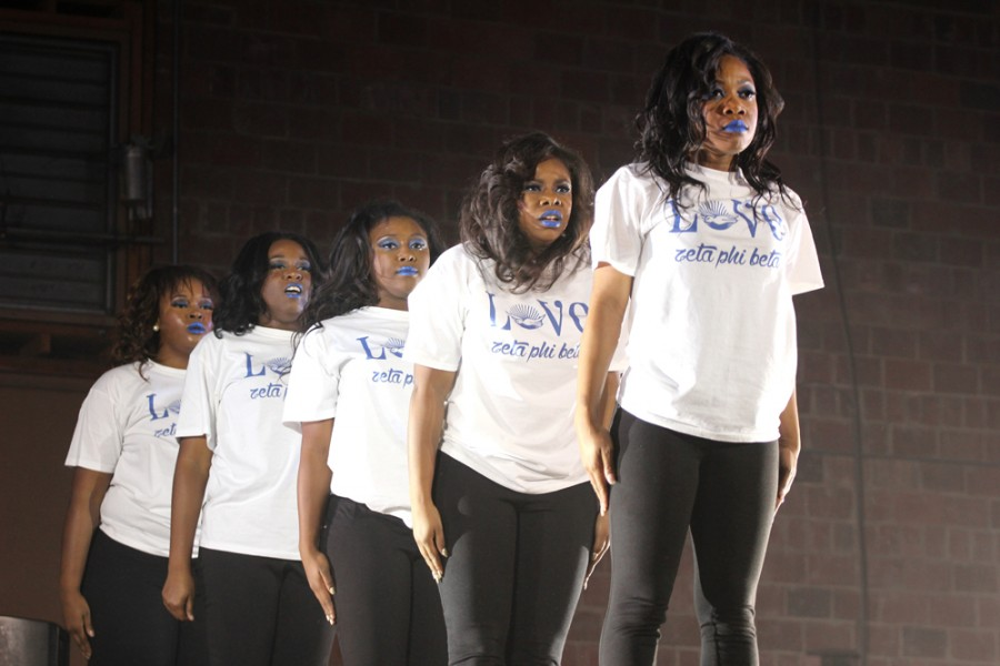 Members of the Zeta Phi Beta Sorority, Inc., perform their step routine during the NPHC Step Show in McAfee Gymnasium on Nov. 8.