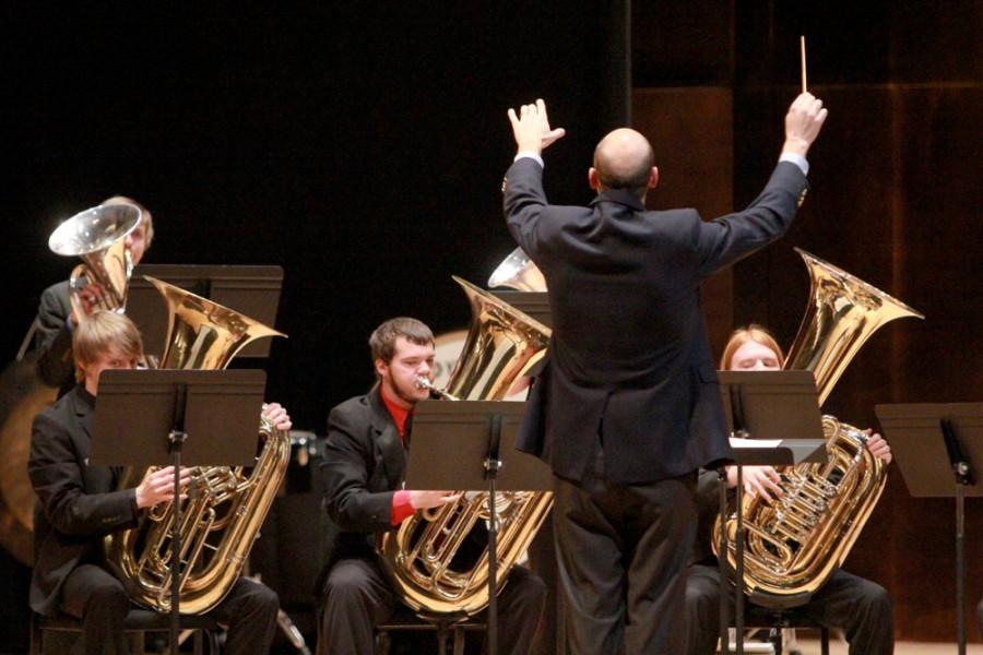 Dr. Todd French directs the Tuba and Euphonium Ensemble during the Evening of Brass recital Monday in the Recital Hall of the Doudna Fine Arts Center.