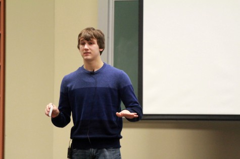 Blake Rowe, a freshman biology major, gives his speech about why smiling is the best medicine at the Speaking Contest Tuesday in the auditorium of Buzzard Hall.