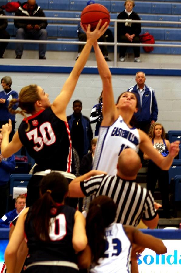 Sabina Oroszova, a senior forward, wins the tip-off against Blair Bryce in the game against Belmont Sat. in Lantz Arena. Oroszova ended the game with 24 points.