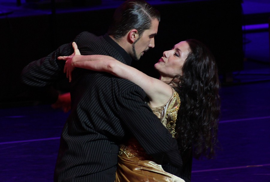 Performers in the Tango Buenos Aires event dance in in the first act of the show Sunday at the Doudna Fine Arts in The Theatre. Tango Buenos Aires performed two acts: The Rise Of A Star and The Rise of Love.