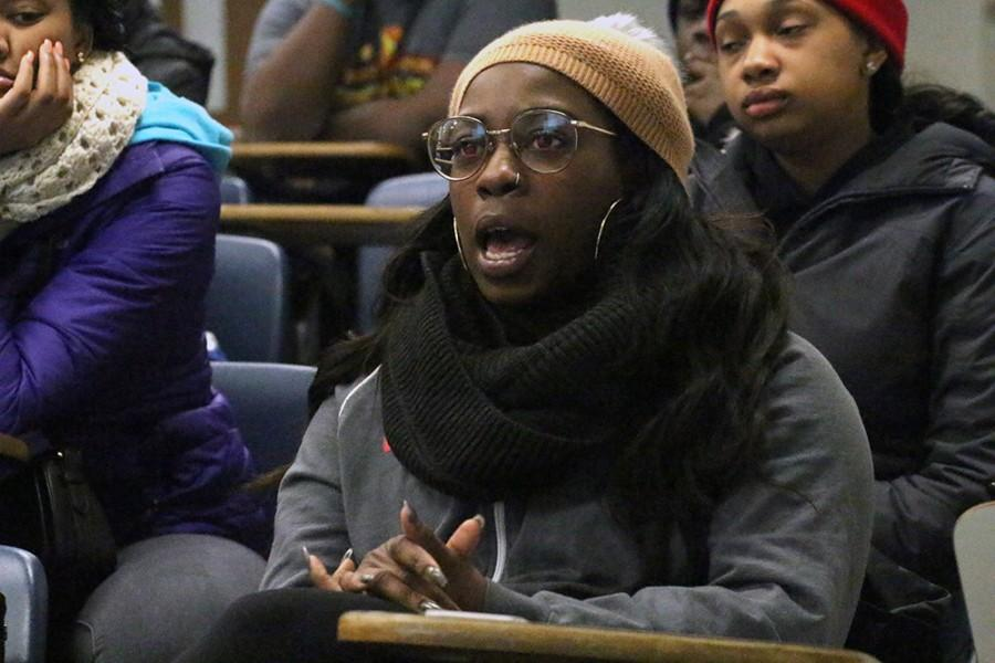 """Shamerea Richards, a senior communication studies major, suggests that students learn their basic rights when dealing with law enforcement Monday during """"Life of a Black Man"""" in the auditorium of Coleman Hall."""