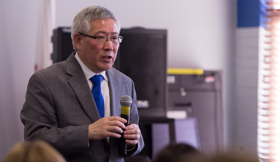 Guiyou Huang, currently the senior vice president at Norwich University and a candidate for Eastern president, speaks to faculty during the open faculty forum on Feb. 4 in the Arcola-Tuscola Room of the Martin Luther King Jr. University Union.