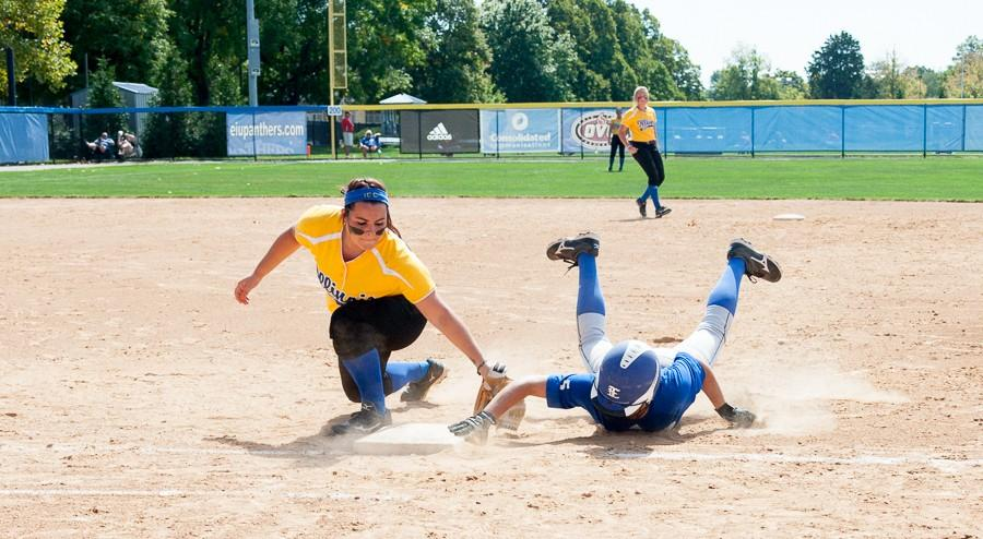 Freshman+pitcher+Tori+Johnson+slides+back+to+first+in+a+game+against+Iliinois+Central+College+on+Sept.+27+at+Williams+Field.++The+Panthers+swept+the+Cougars+6-1+and+3-2.