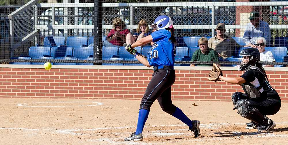 Sophomore infielder Bailey O'Dell swings away in a game on Sept. 13, 2013 against Heartland Community at Williams Field.  The Panthers took the doubleheader by a score of 1-0 and 10-2.