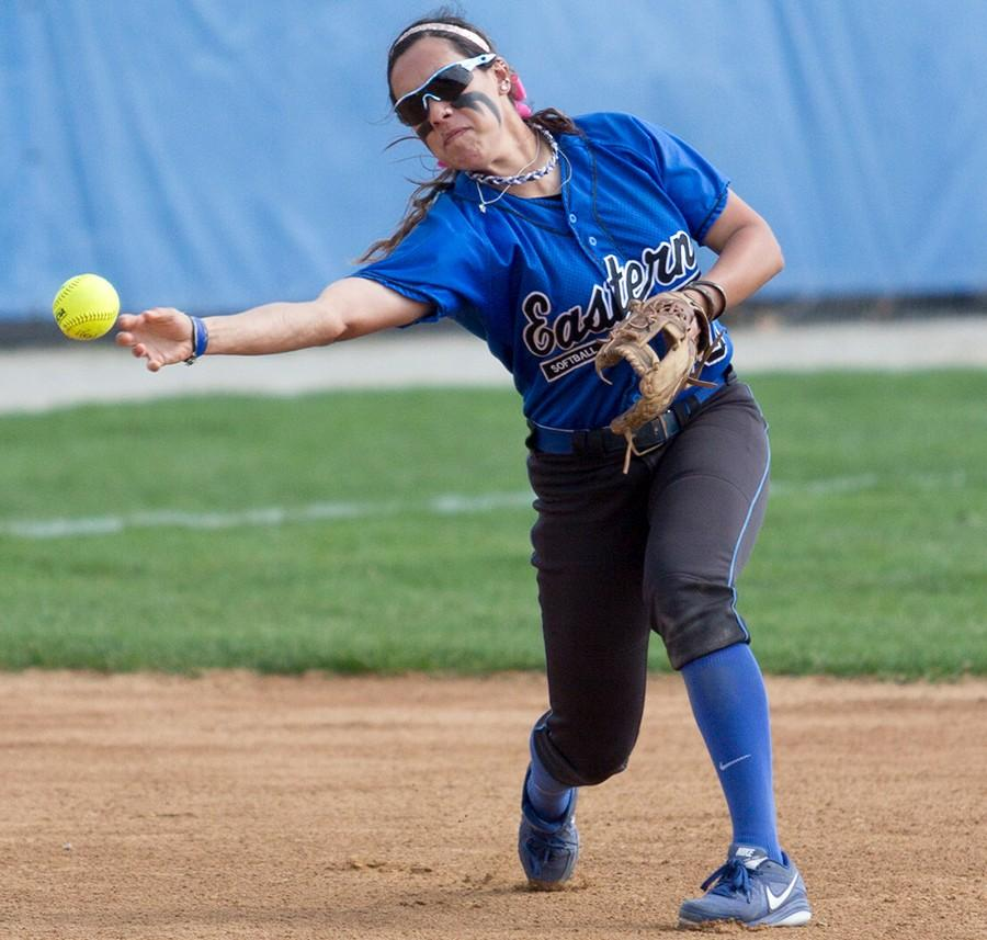 Senior+infielder+Bailey+O%27Dell+throws+the+ball+to+first+against+Tennessee-Martin+on+April+12+at+Williams+Field.++O%27Dell+had+two+at+bats+and+one+pick+off+during+the+game.+The+Panthers+won+the+weekend+series+against+the+Skyhawks.