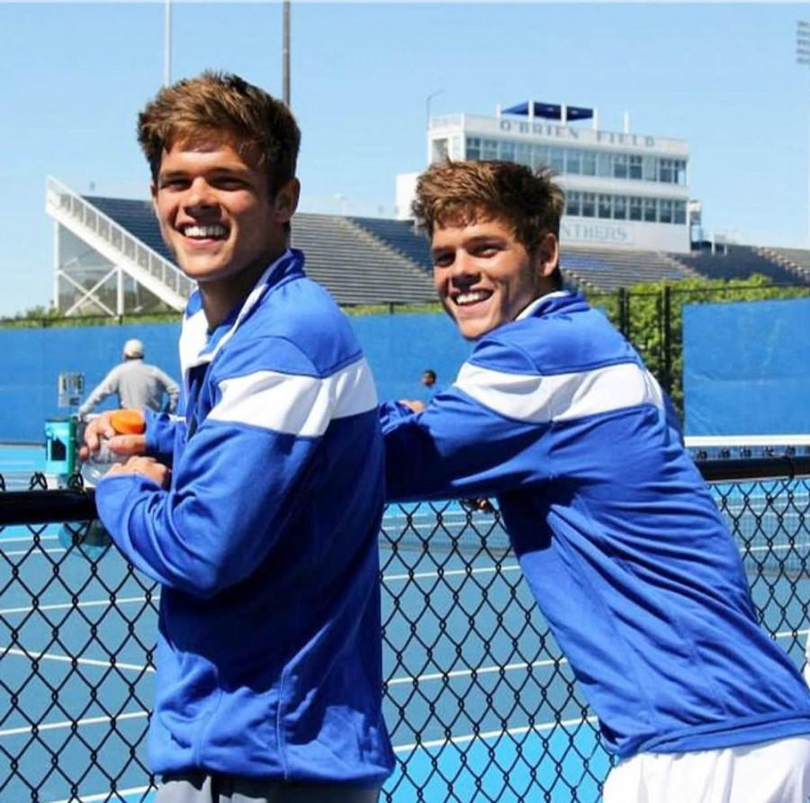 Freshman twins Trent and Grant Reiman play for the Eastern men's tennis team. They finished 5th place for doubles in the IHSA tournament last year during their senior year at Morton High School.